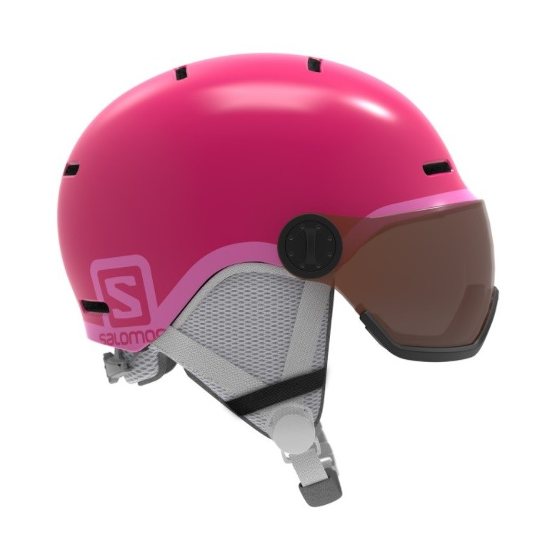 Kask juniorski Salomon Grom Visor Glossy Pink